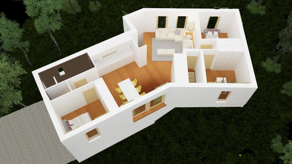 Axonometrie humagne plan maison