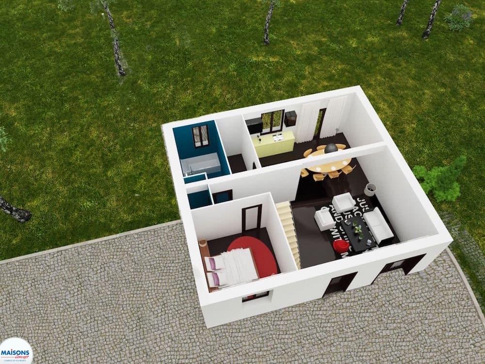 Plan 3D maison tarditionnelle city cosy rdc