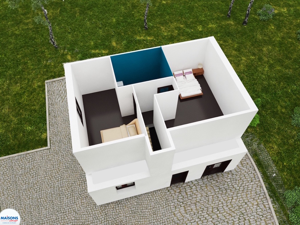 plan 3D maison traditionnelle city cosy etage